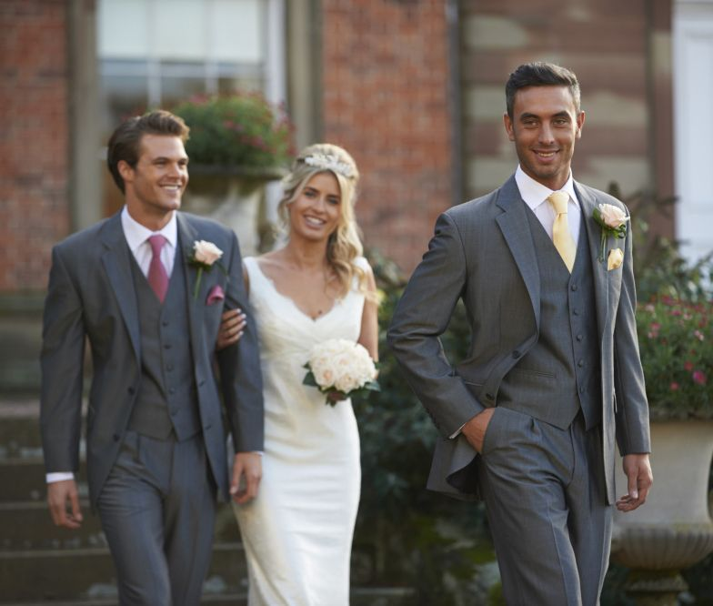 Lounge suit, bride and groom wedding wear