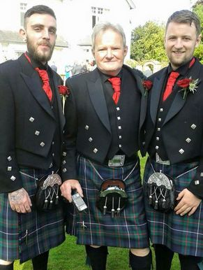 3 men dressed in Highland suits and kilts