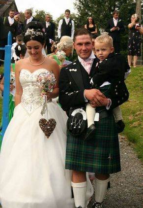 Highland dress wear for a wedding, suit and kilt
